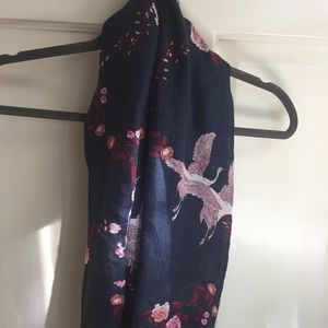 Accessories - Navy Infinity Scarf with Cranes and Carnations